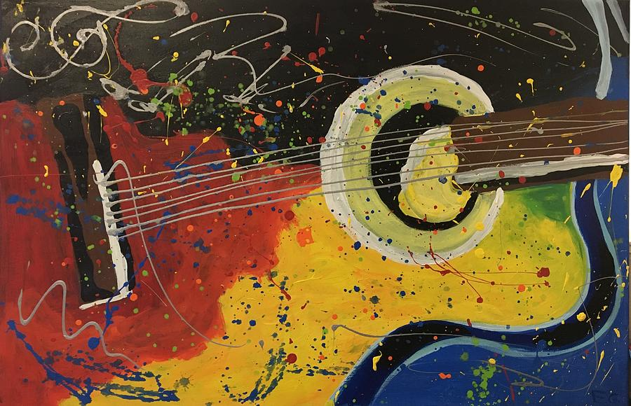 Guitar Painting - Colorful Strum by Eric G