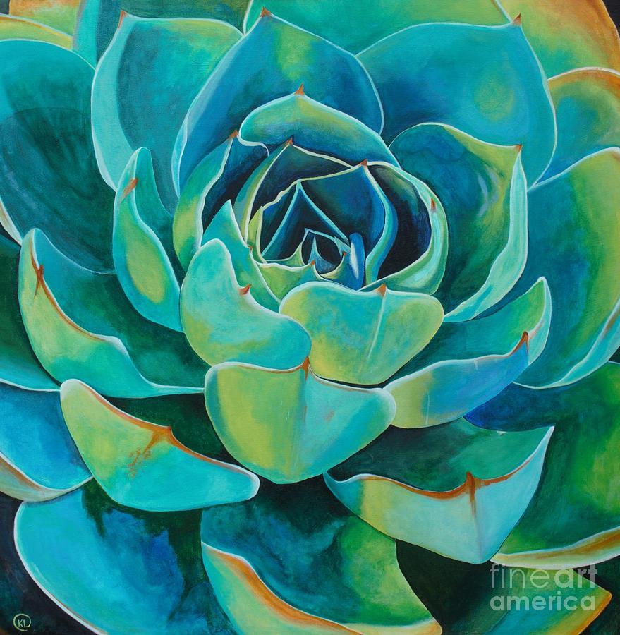 Succulent Painting - Colorful Succulent by Kristen Cabatingan