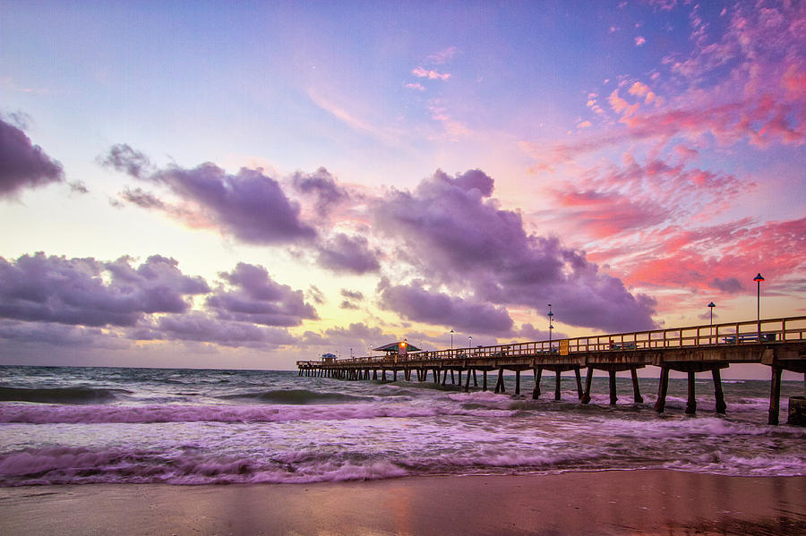 Pier Photograph - Colorful Sunrise by Mike Burgquist