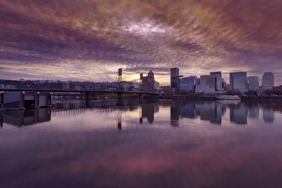 Portland Photograph - Colorful Sunset Over Portland Oregon by David Gn