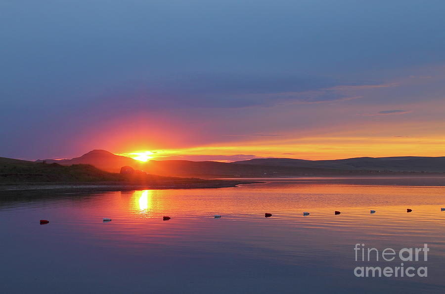 Colorful Sunset Over The Tranquil Surface Of The Lake. Photograph