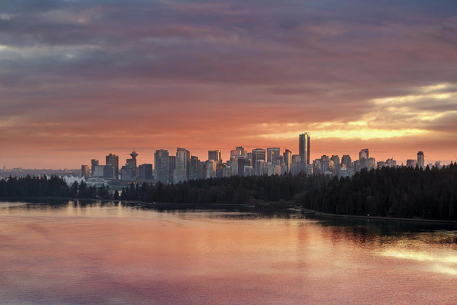Vancouver Photograph - Colorful Sunset Over Vancouver Bc Downtown Skyline by David Gn