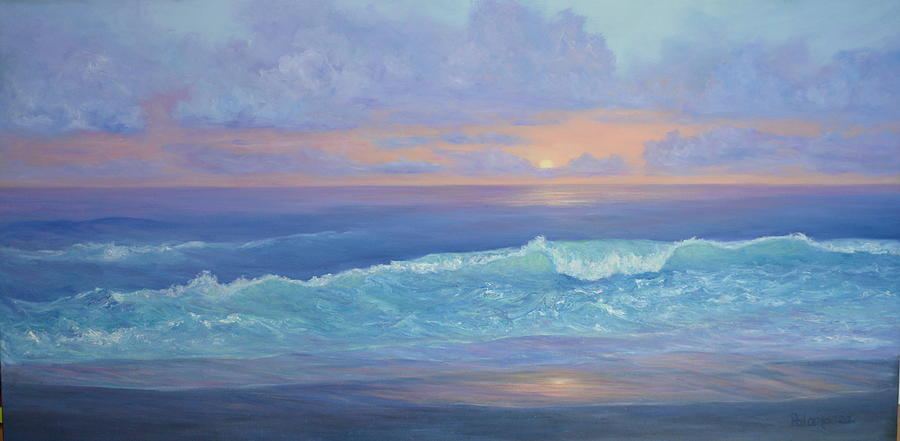Cape Cod Colorful Sunset Seascape Beach Painting With Wave by Amber Palomares