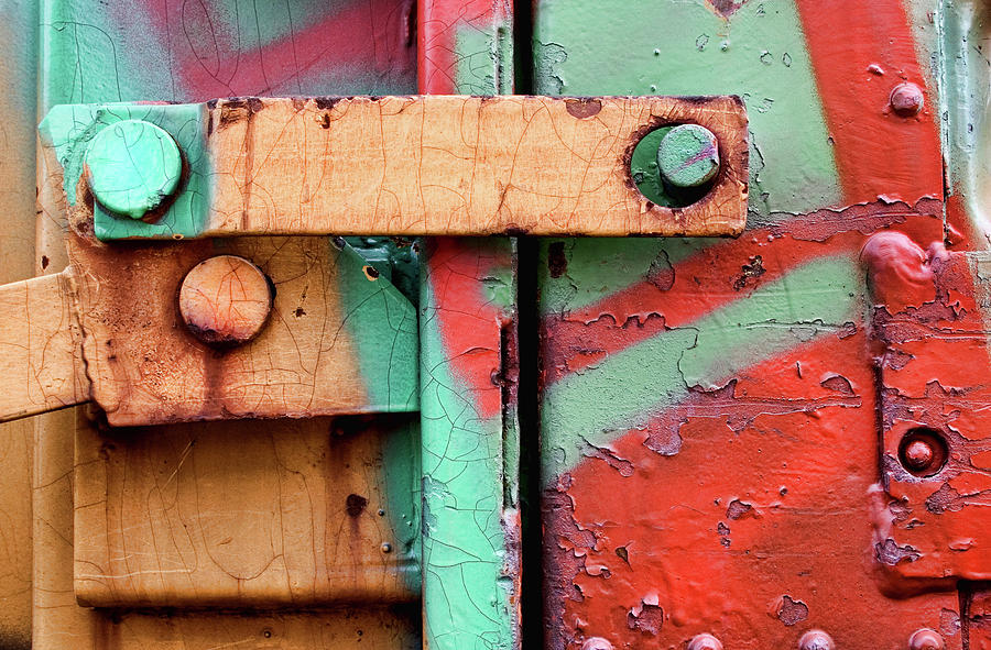 Abstract Photograph - Colorful Train Details by Carol Leigh