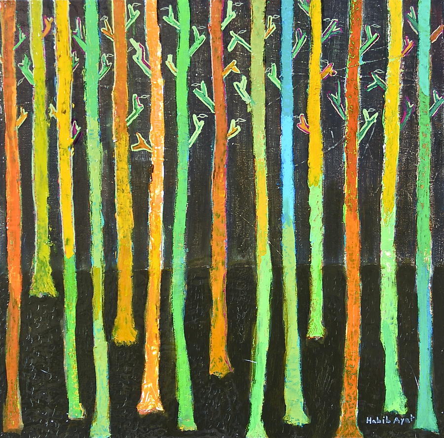 Colors Painting - Colorful Trees by Habib Ayat