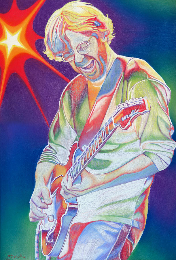 Phish Drawing - Colorful Trey Anastasio by Joshua Morton