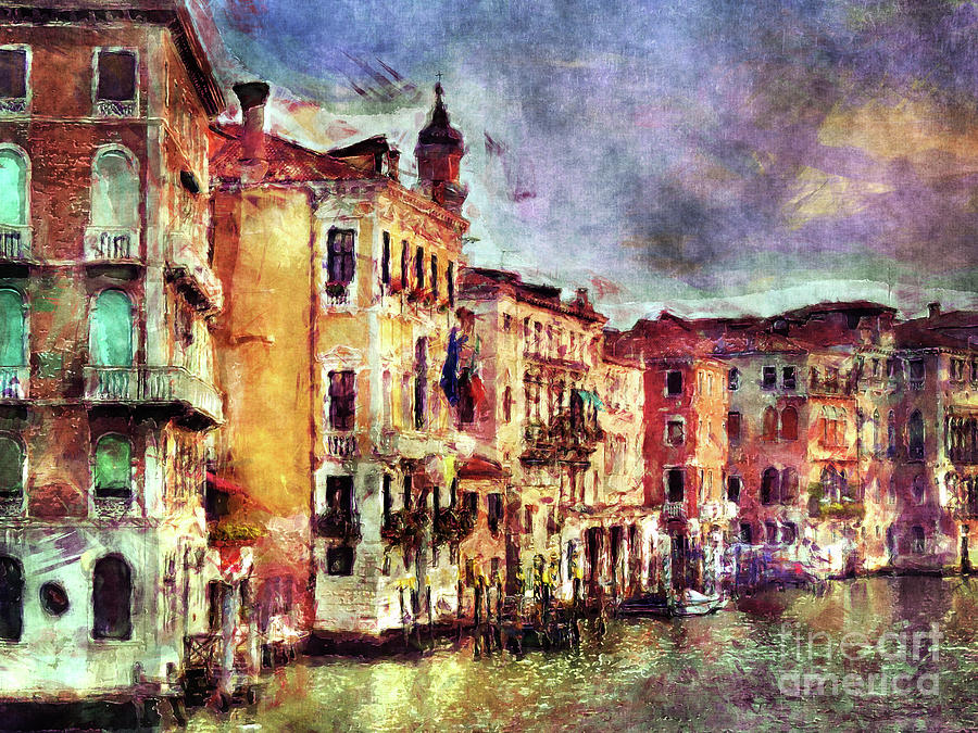 Venice Digital Art - Colorful Venice Canal by Phil Perkins