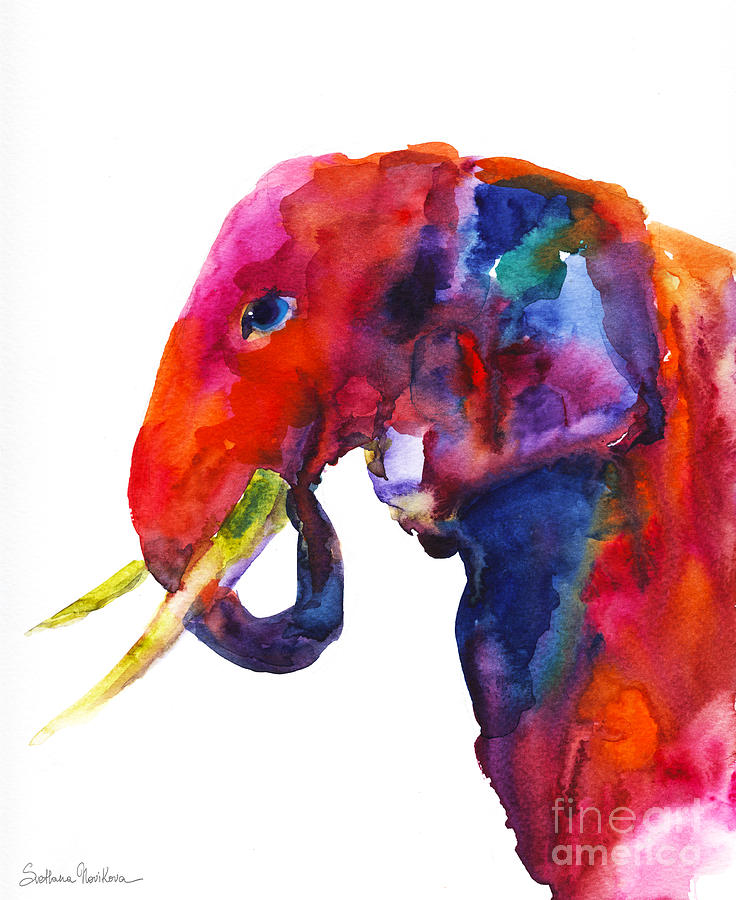 Colorful watercolor elephant by Svetlana Novikova