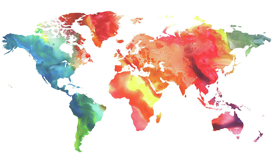Water Color Map Colorful Watercolor Map Of The World Painting by Irina Sztukowski