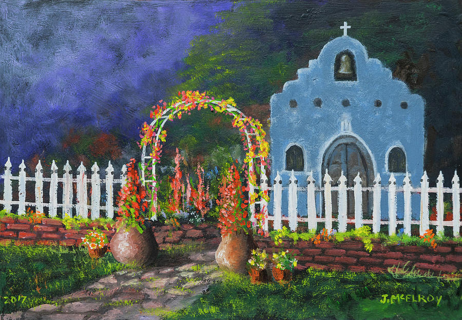 Church Painting - Colorful Welcome by Jerry McElroy