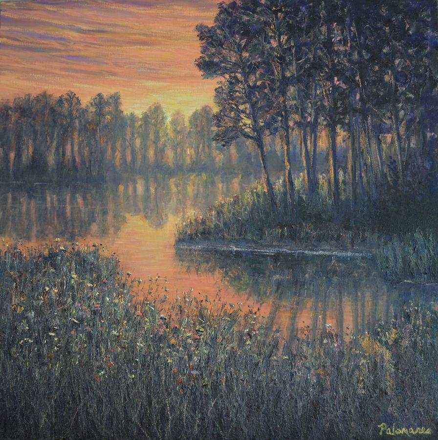 Colorful Wetland Marsh Sunrise Painting by Amber Palomares