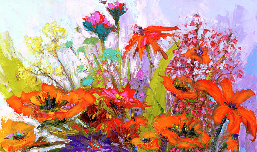 Colorful Wildflowers Bunch, Oil Painting, Palette Knife by Patricia Awapara