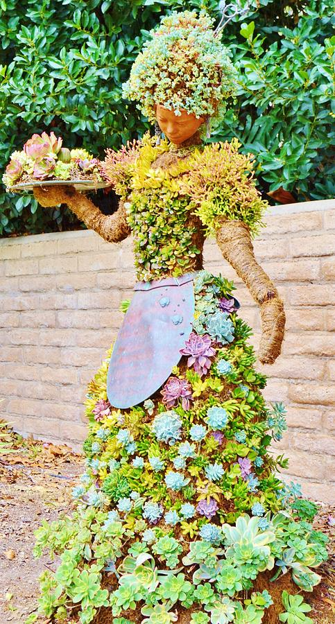 Colorful Woman Topiary Art Photograph by Cherie Cokeley