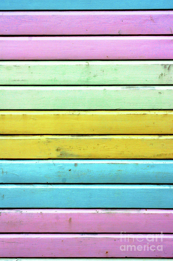 Abstract Photograph - Colorful Wooden Panels by Tom Gowanlock