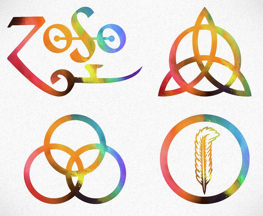 Colorful Zoso Symbols Mixed Media