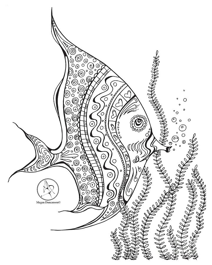 coloring drawing coloring page with beautiful tropical fish 2 drawing by megan duncanson by megan - Coloring Fish 2