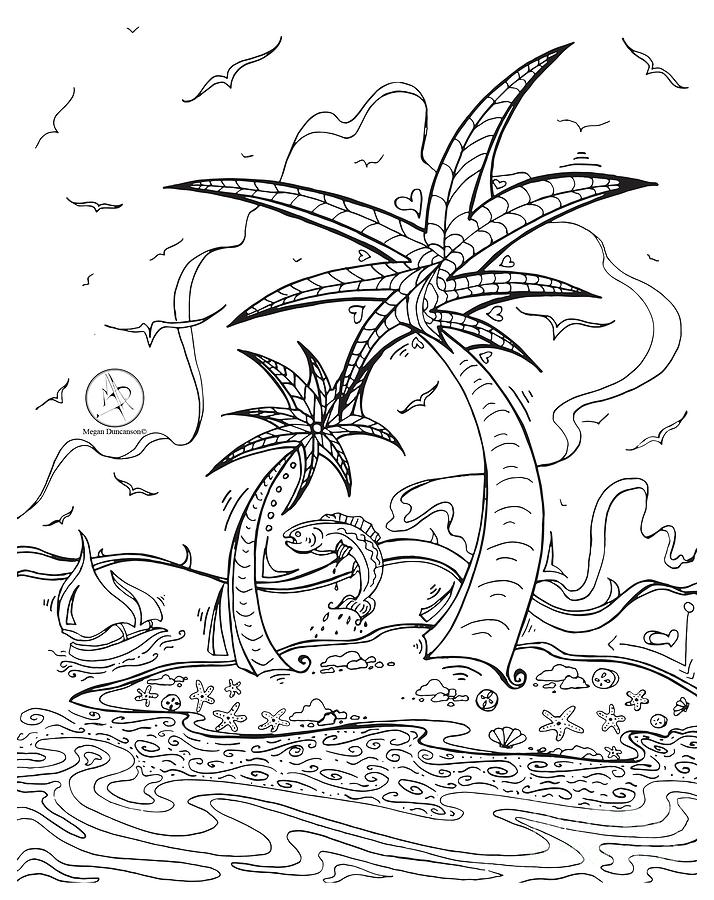 Tropical Island Coloring Pages | Coloring Page for kids
