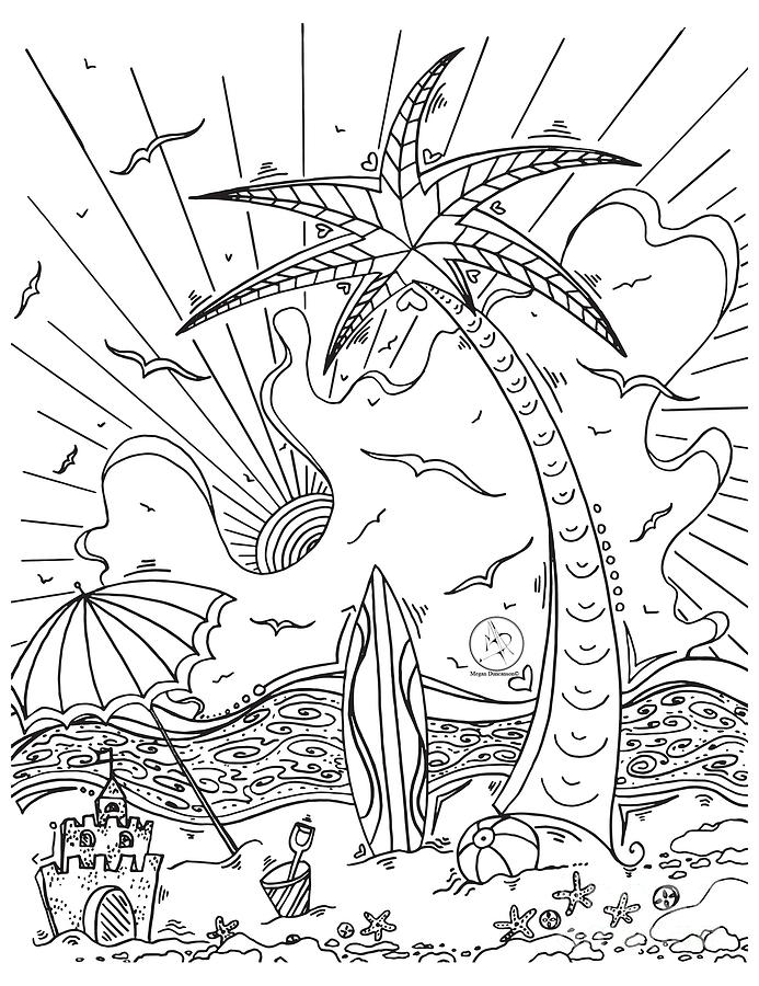 Coloring Page With Beautiful Tropical Surf Island Drawing By Megan