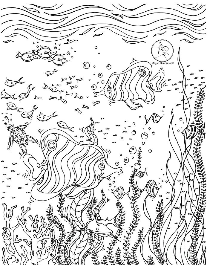 coloring drawing coloring page with beautiful underwater scene drawing by megan duncanson by megan duncanson