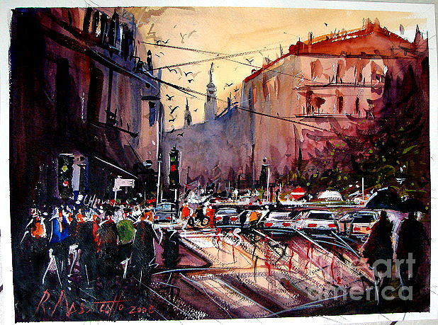 Colors Afternoon Watercolour Painting by Ricardo Massucatto