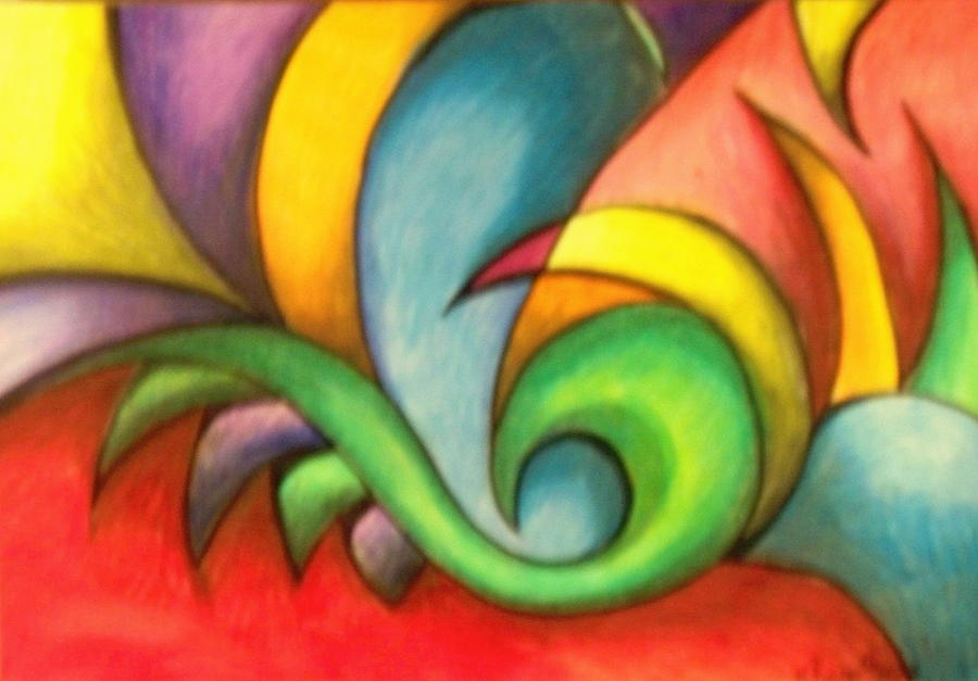 Abstract Drawing - Colors And Curves II by Karina Repp