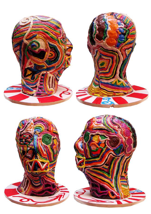 Head Sculpture - Colors Head by Simon Rodes