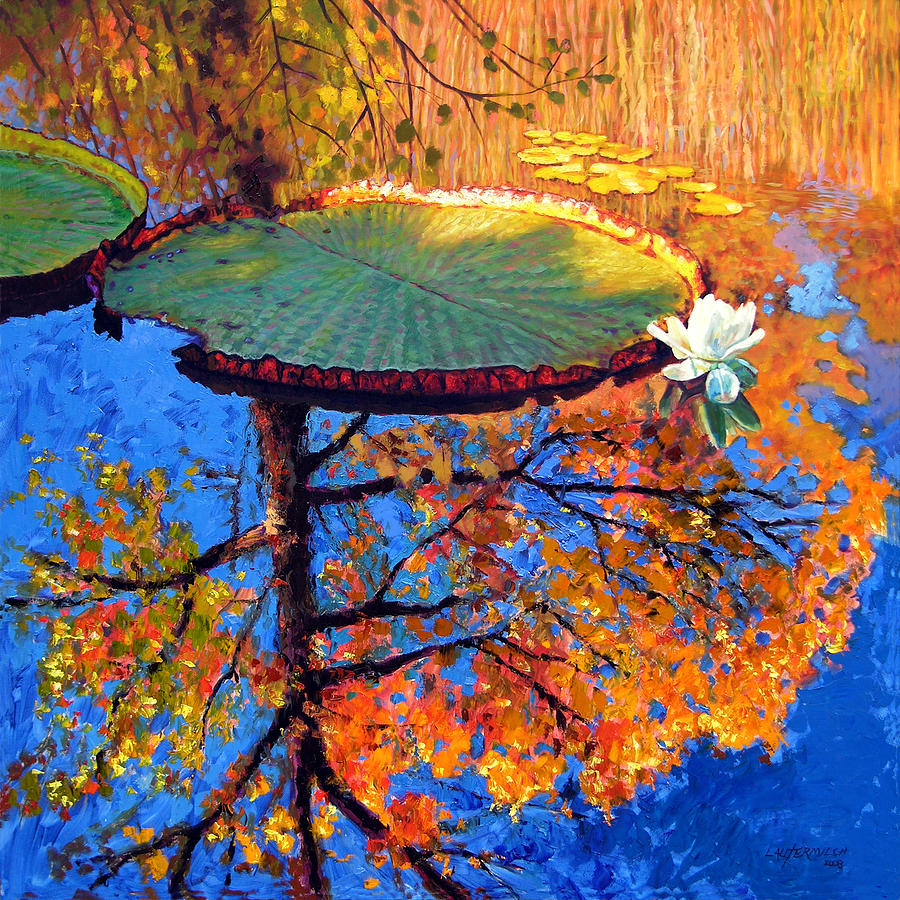 Fall Painting - Colors Of Fall On The Lily Pond by John Lautermilch