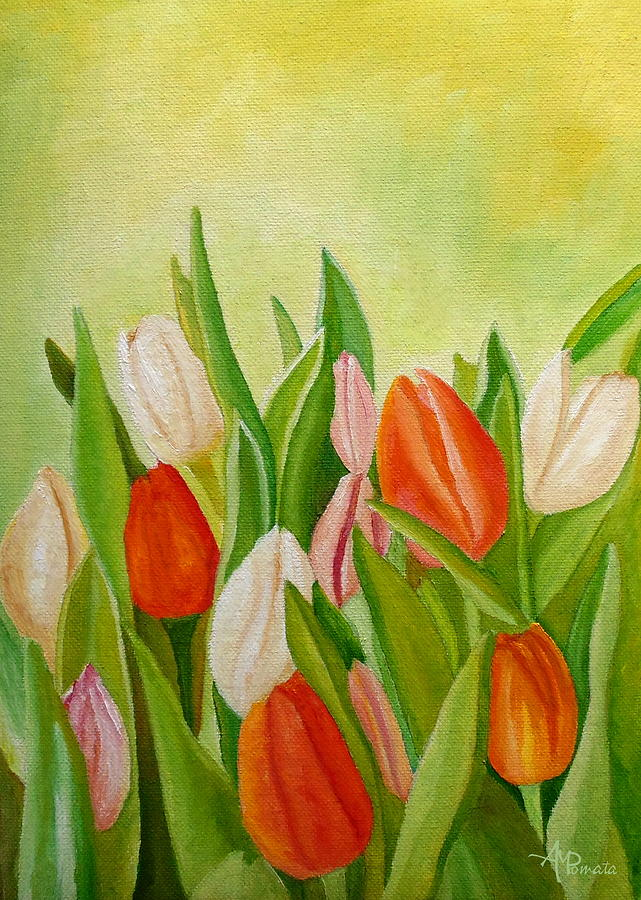 Tulips Painting - Colors Of Spring by Angeles M Pomata