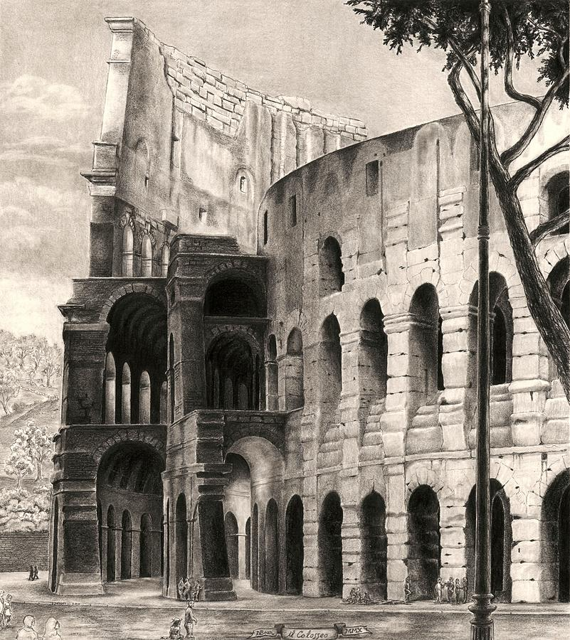 Colosseum Drawing - Colosseo by Norman Bean