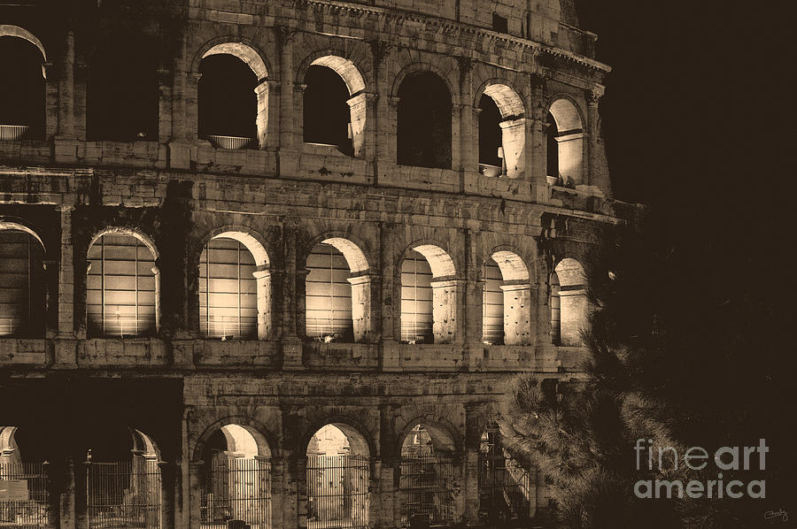 Colosseum at Night in Sepia by Prints of Italy