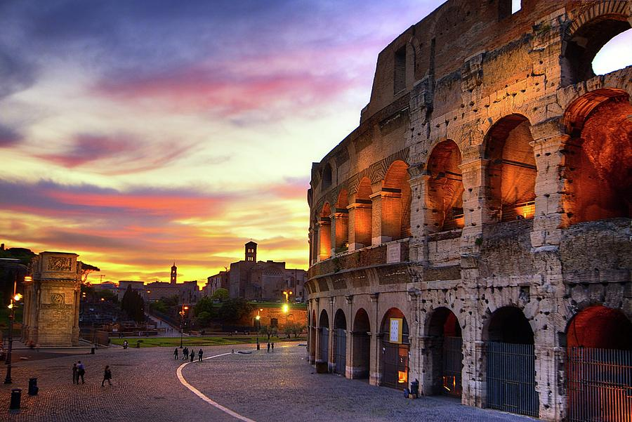 Horizontal Photograph - Colosseum At Sunset by Christopher Chan