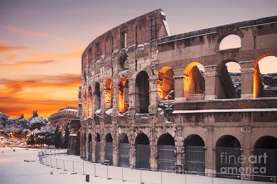 Snow Photograph - Colosseum covered in snow at sunset by Stefano Senise