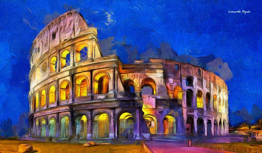 Amphitheater Digital Art - Colosseum - Da by Leonardo Digenio
