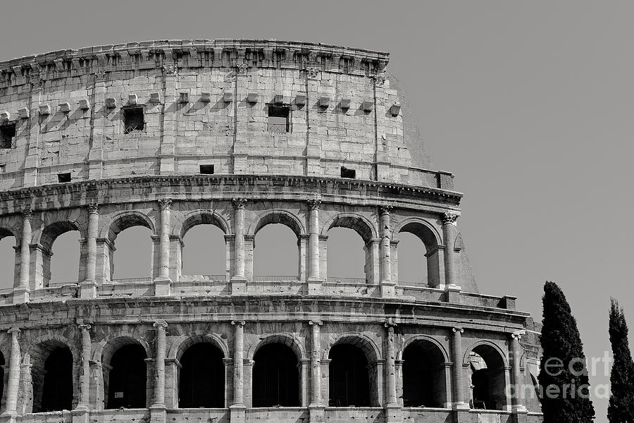 Italy Photograph - Colosseum Or Coliseum Black And White by Edward Fielding