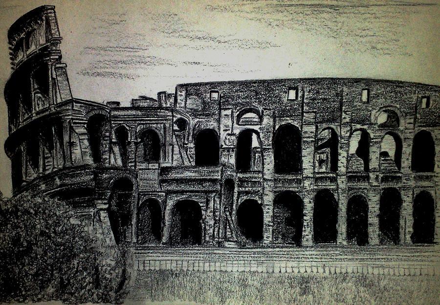Colosseum Drawing - Colosseum by Sarah Khalid Khan