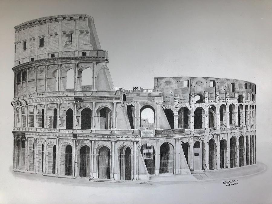 Flavian Amphitheater / Roman Colosseum Drawing By
