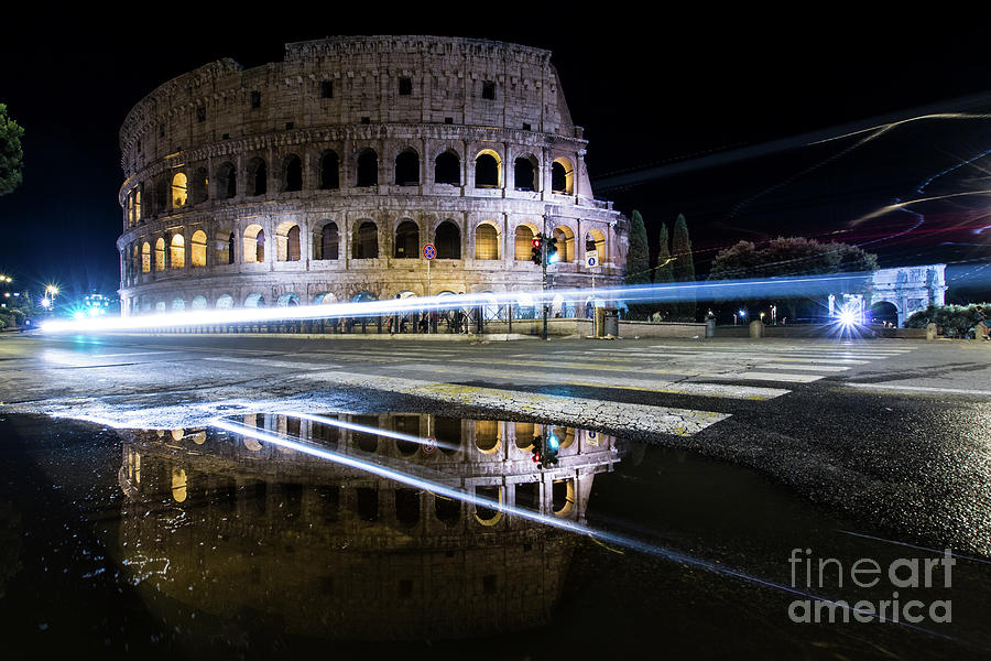 Colosseum Photograph - Colosseum with trail lights by Paolo Sirtori
