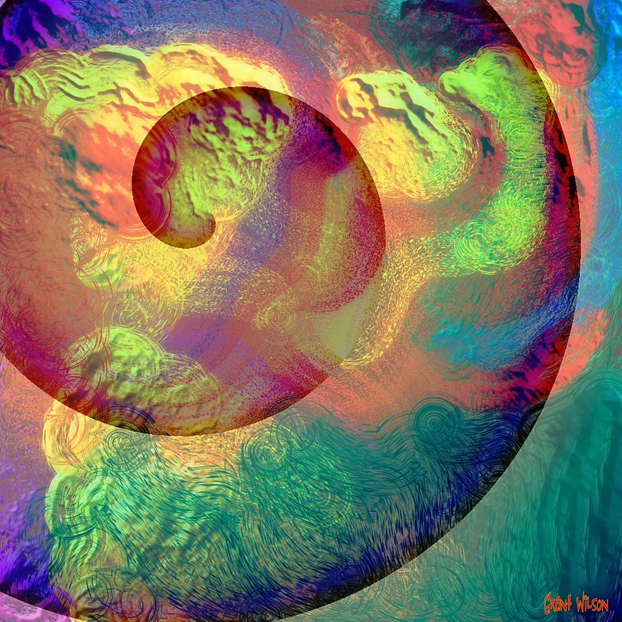 Abstract Digital Art - Colour Spiral by Grant  Wilson