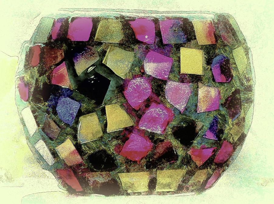 Painterly Digital Art - Coloured Glass Bowl by Leigh Kemp