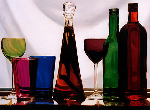 Still Life Painting - Coloured Glass by Toby Boothman