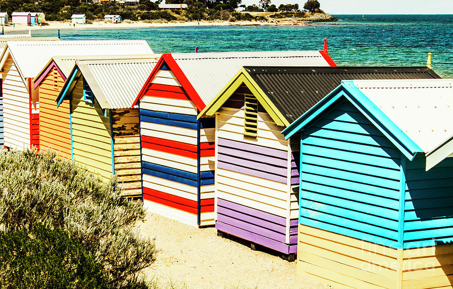 Hut Photograph - Colourful Bathing Sheds by Jorgo Photography - Wall Art Gallery