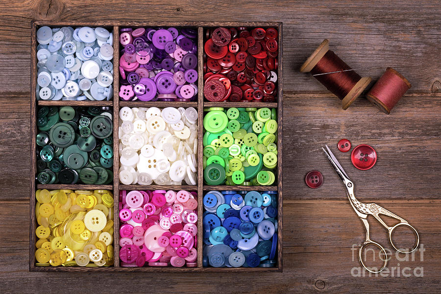 Box Photograph - Colourful Buttons With Needle, Thread And Scissors by Jane Rix