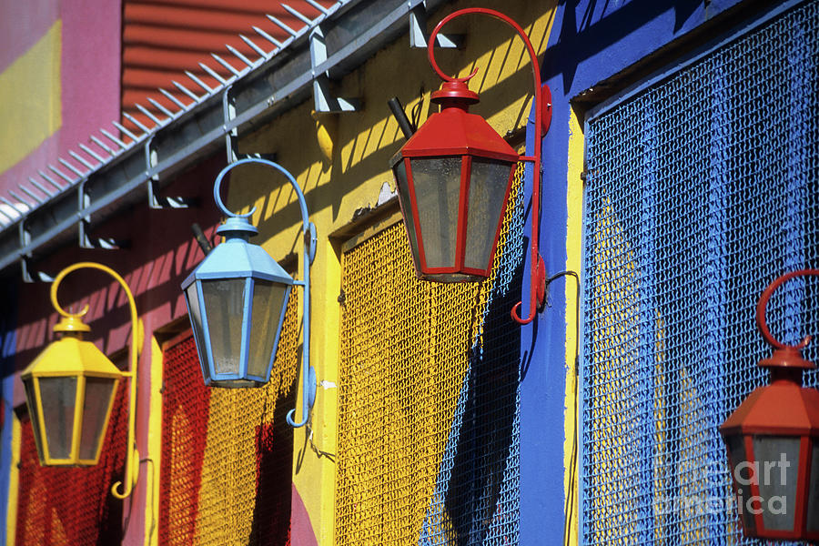 Buenos Aires Photograph - Colourful Lamps La Boca Buenos Aires by James Brunker