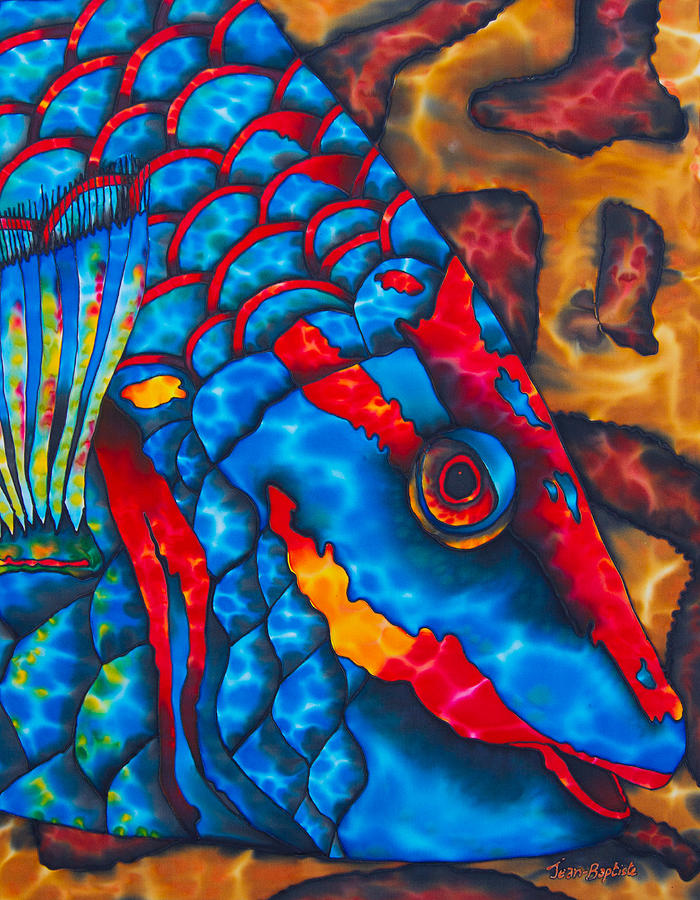 Abstract Painting - Colourful  Parrotfish - Brain Coral by Daniel Jean-Baptiste