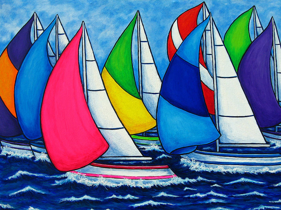 Boats Painting - Colourful Regatta by Lisa  Lorenz