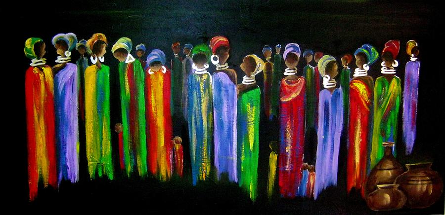 African Women Painting - Colourful South Africa by Marietjie Henning