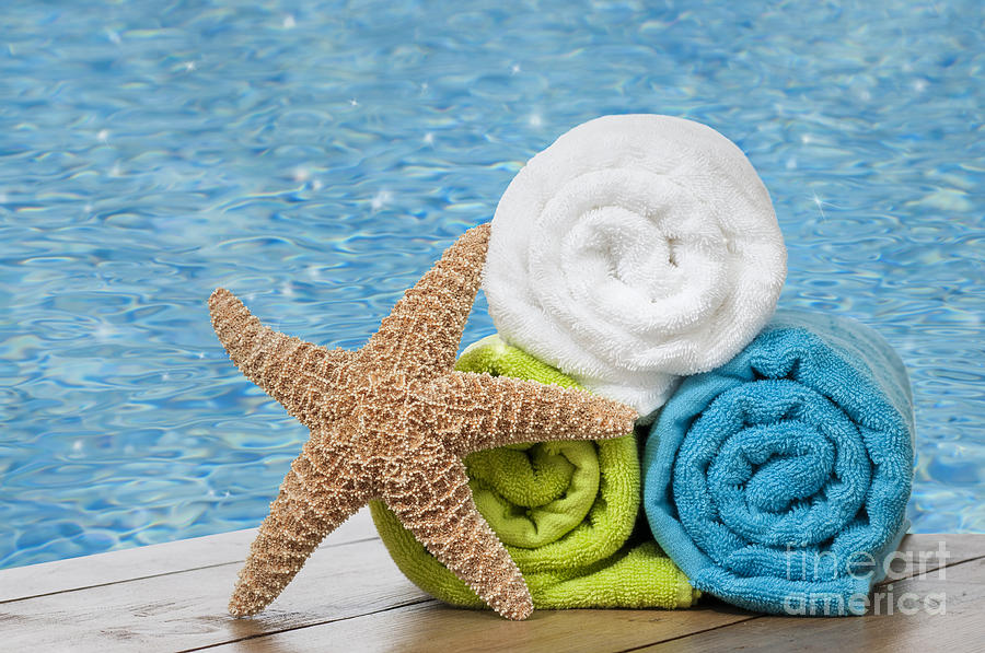 Summer Photograph - Colourful Towels by Amanda Elwell