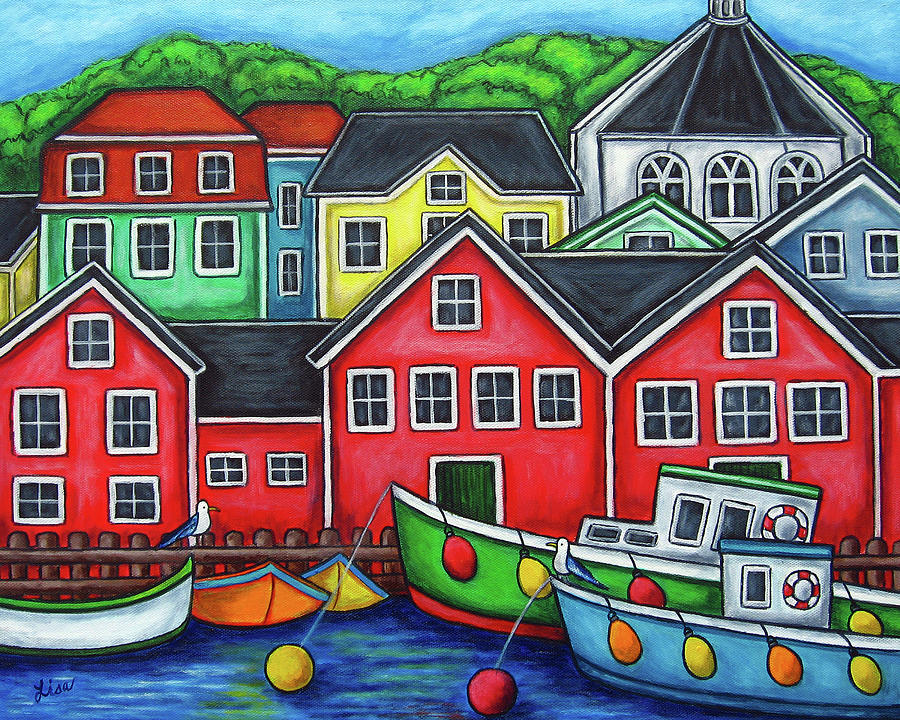 Nova Scotia Painting - Colours of Lunenburg by Lisa  Lorenz
