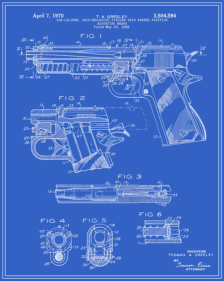 Colt 1911 handgun patent blueprint digital art by finlay mcnevin patent digital art colt 1911 handgun patent blueprint by finlay mcnevin malvernweather Images