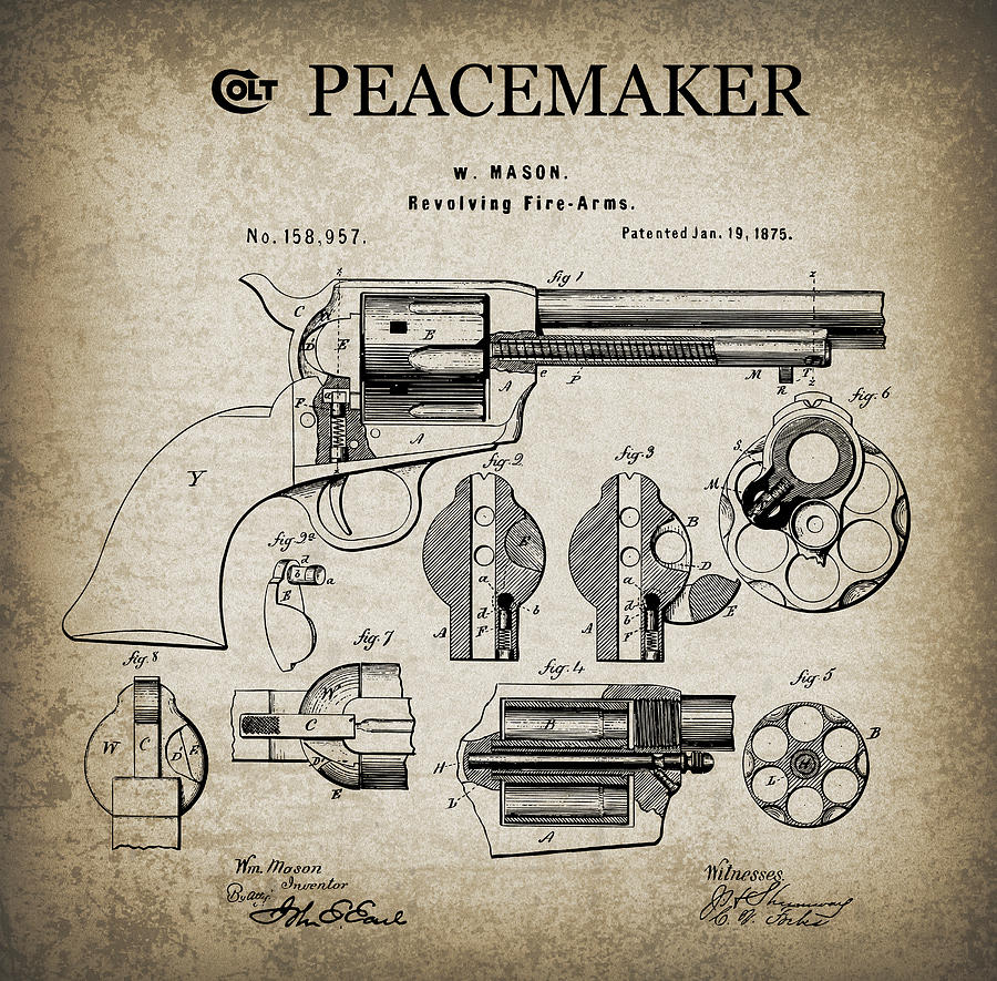 Colt Digital Art - Colt .45 Peacemaker Revolver Patent  1875 by Daniel Hagerman